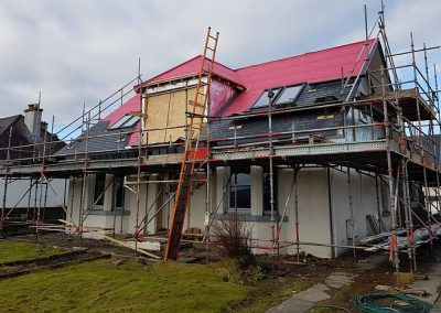 Large house renovation & extension in Invergordon with a double garage with attic trusses