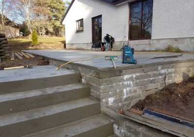 Large patio and steps + retaining block walls